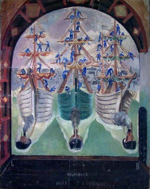 Avreisen. Fra Zodiacus, utkast til Sjømannsskolen i Oslo
