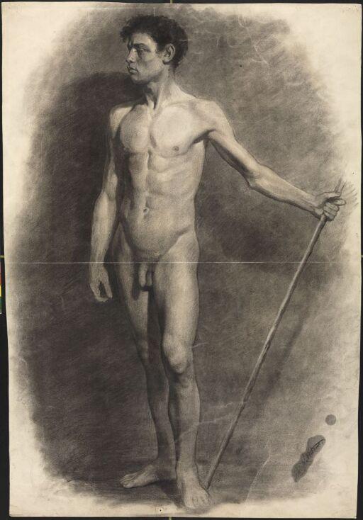 Stående mannsakt med stav i hånden