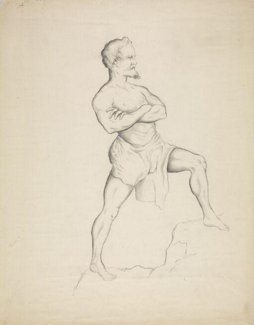 Mannsfigur med armene over kors