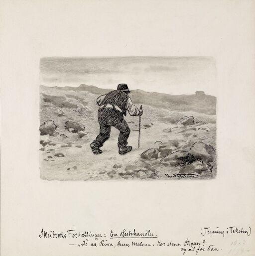 """Illustrasjon til """"Sandfærdige skrøner og sligt noget. Fortalt av Mathias Skeibrok"""", Kristiania 1891"""