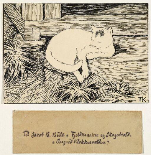 """Pus på hellen. Illustrasjon til Jacob Breda Bull, """"Fjeldkraaker og Skogstrold"""", 1906"""
