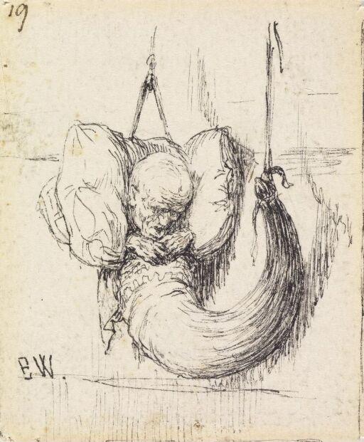 "Illustrasjon til ""Den syvende Fa'r i Huset"" i P. Chr. Asbjørnsen, Norske Folke- og Huldreeventyr i Udvalg, København 1879"