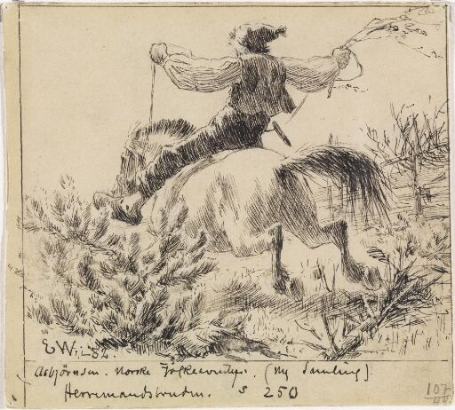 The Boy threw himself onto the Little Mare's Back, and rode home at full gallop