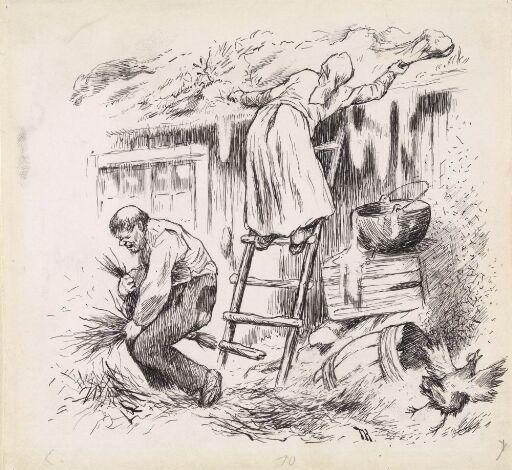 "Illustrasjon til ""Hanen som faldt i Bryggekarret"", P. Chr. Asbjørnsen og J. Moe, Eventyrbog for Børn. Norske Folkeeventyr, København 1884"
