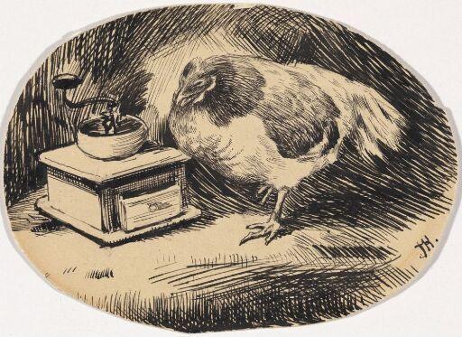 """Illustrasjon til P. Chr. Asbjørnsen """"Hanen som falt i Bryggekaret"""""""