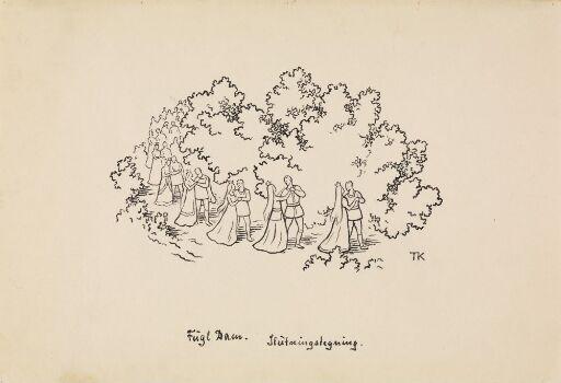 """Variant av illustrasjon til """"Fugl Dam"""" i P.Chr. Asbjørnsen, Eventyrbog for Børn. Norske Folkeeventyr, Kristiania og København, 1908"""