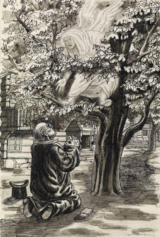 """Illustrasjon til """"Mestertyven"""", P. Chr.  Asbjörnsen og J. Moe, Samlede eventyr,  1936"""
