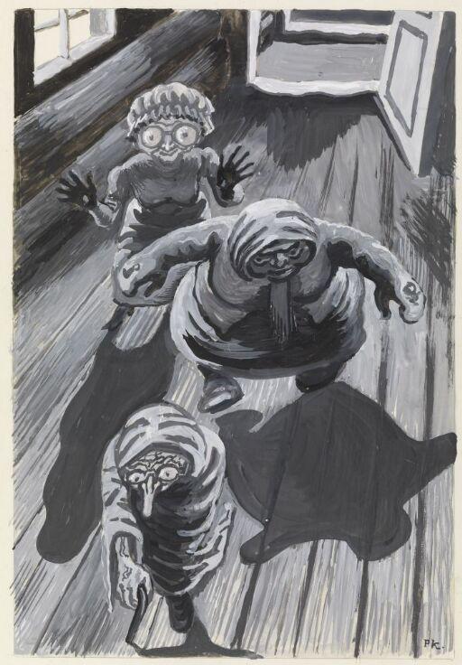 """Illustrasjon til """"De tre mostrene"""", P. Chr. Asbjörnsen og J. Moe, Samlede eventyr, 1936"""