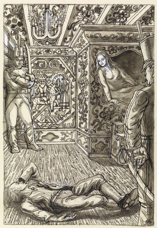 Askeladden lå da på gulvet i kammerset hos prinsessen om natten, og to mann sto vakt