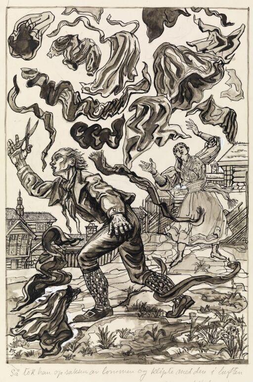 """Illustrasjon til """"Det har ingen nød med den som alle kvinnfolk er glad i"""", P. Chr. Asbjörnsen og J. Moe, Samlede eventyr, 1936"""