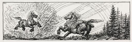 """Illustrasjon til """"Grimsborken"""", P. Chr. Asbjörnsen og J. Moe, Samlede eventyr,  1936"""