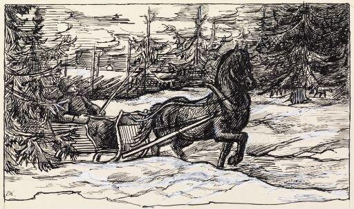 """Illustrasjon til """"På høiden av Aleksandria"""", P. Chr. Asbjörnsen og J. Moe, Samlede eventyr, 1936"""