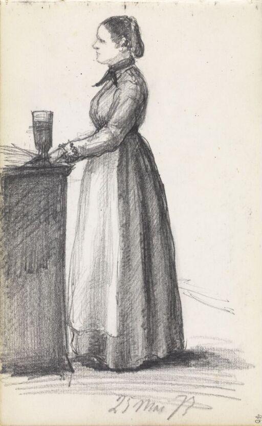 Kvinne ved benk