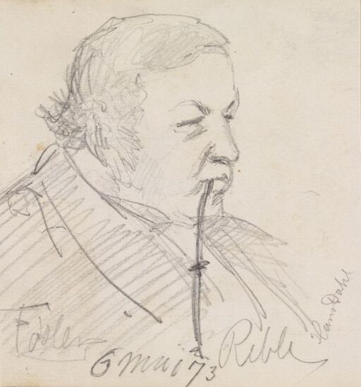 Mann i profil med langpipe