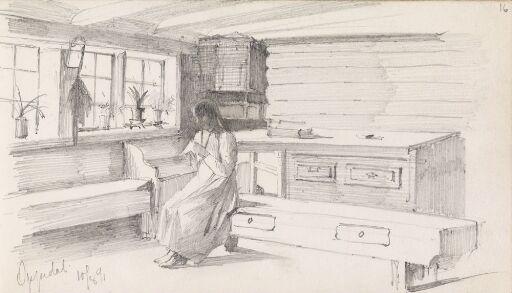 Ung kvinne i interiør, Oppedal