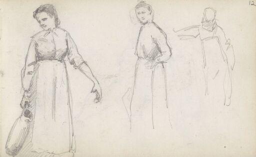 Kvinne bærende på mugge; figurstudier