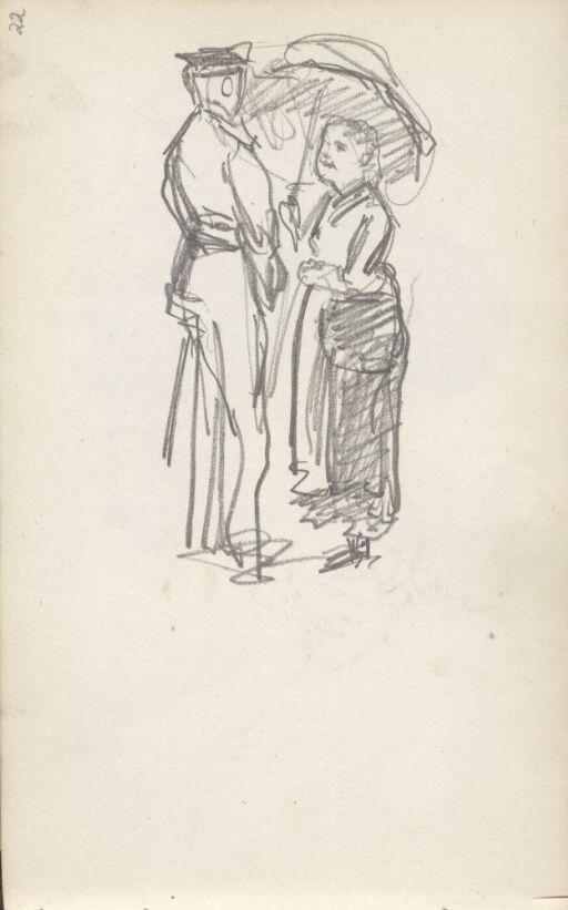 Kvinne med parasoll i samtale med uniformert mann