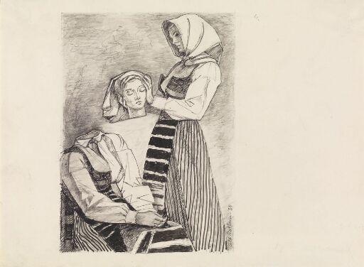"""Illustrasjon til """"Høna tripper i berget"""", P. Chr. Asbjörnsen og J. Moe, Samlede eventyr, 1936"""