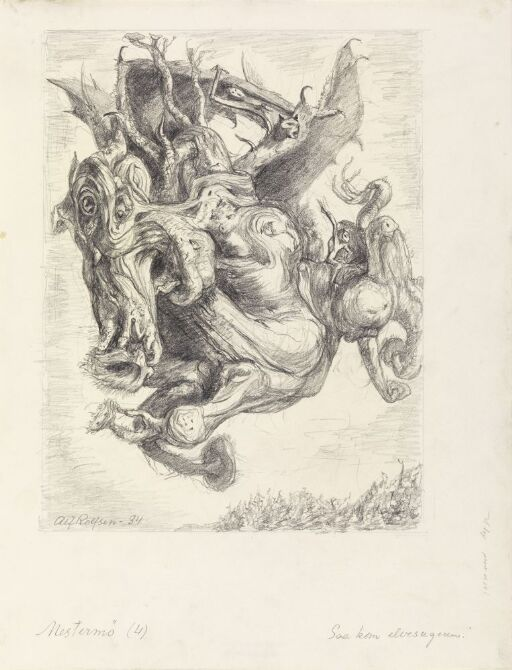 """Illustrasjon til """"Mestermø"""", P. Chr. Asbjörnsen og J. Moe, Samlede eventyr,  1936"""