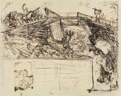 Mennesker på en bro over en foss