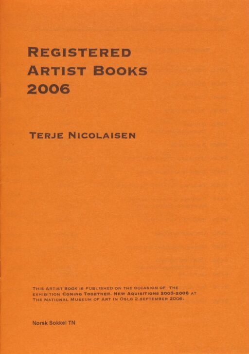 1700 Katalog: Artist's Books 1995-2006