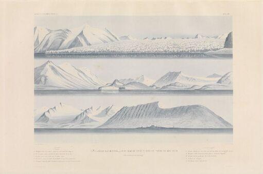 Vue générale des montagnes et du glacier situé au fond de la rade de Bell-Sound (côte occidentale du Spitzberg)
