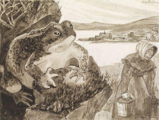 """Illustrasjon til """"Ekebergkongen"""", P. Chr. Asbjörnsen og J. Moe, Samlede eventyr,  1936"""