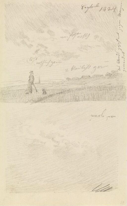 Mann med hund i landskap