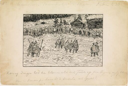 Illustrasjon til Haakon Herdebreds saga i Snorre Sturlason, Kongesagaer, Kristiania 1899