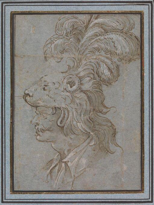 Mannshode med fjærprydet løvehjelm