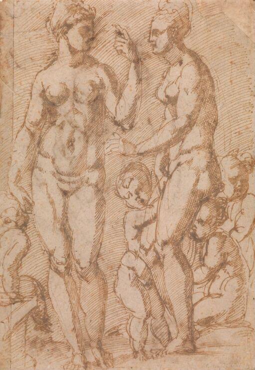 To nakne kvinner og fire små barn