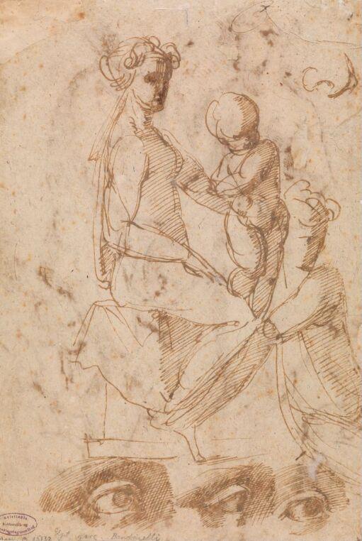 Sittende naken kvinne med barn på fanget; studier av øye