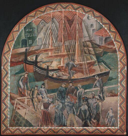Nordlandsstevne. Utkast til freskodekorasjon i Bergen Børs