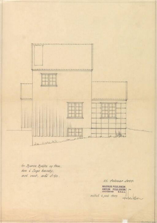 Hus for Bjelke, fasade mot vest