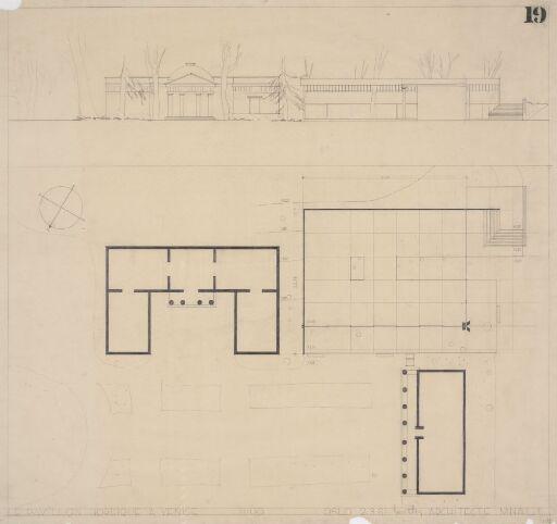 Den nordiske paviljongen i Venezia. Fasadeoppriss og situasjonsplan.