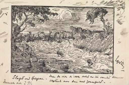 Vannet flommet som en foss imot kong Knuts skip og folk