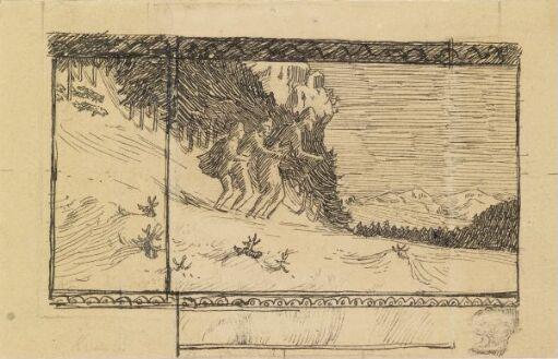 Tre menn på ett par ski