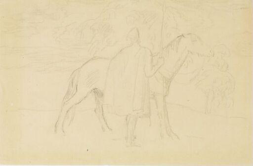 Viking med spyd og hest i landskap