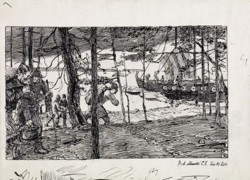 """Illustrasjon til """"Olav den Helliges Saga"""", Snorre Sturlason i Kongesagaer, Kristiania 1899"""