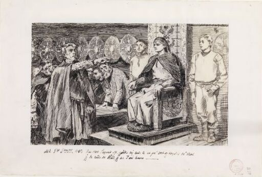"Illustrasjon til ""Magnus Blindes Saga"" i Snorre Sturlason, Kongesagaer, Kristiania 1899"