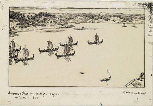 """Illustrasjon til """"Olav den Helliges Saga"""", Snorre Sturlason, Kongesagaer, 1899"""