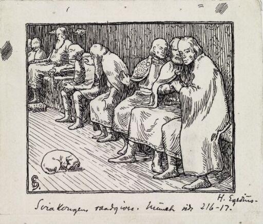 """Ill. til """"Olav den Helliges Saga"""" i Snorre Sturlason, Kongesagaer, Kristiania 189"""