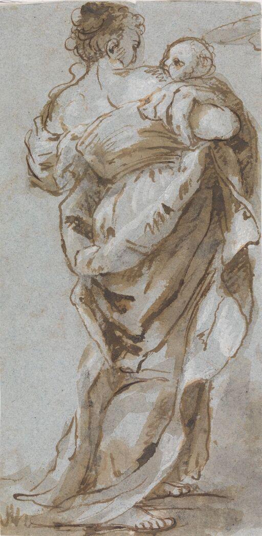 Kvinne med barn på armen