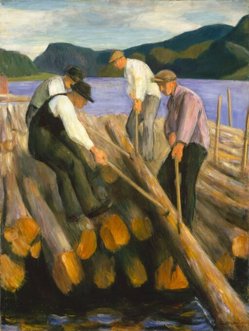 Men working on a Timber Boom