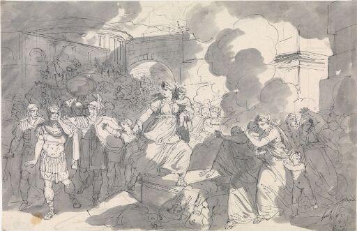 Hasdrubals hustru kaster seg i Kartagos brennende ruiner