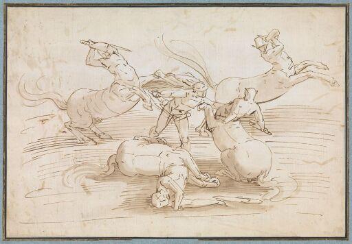 Theseus fighting the Centaurs