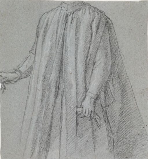 Studie av mannsfigur iført kappe