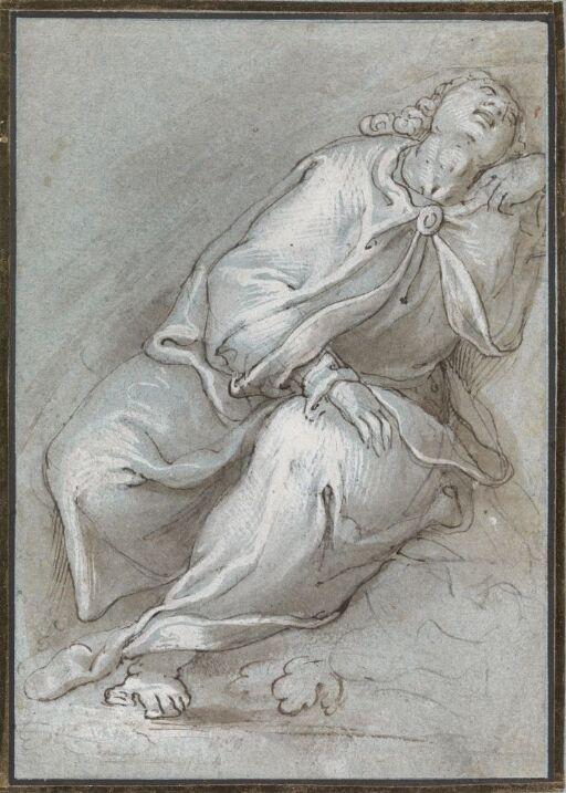 Sittende tilbakelent drapert figur