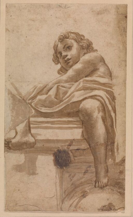 Putto seated on an architrave