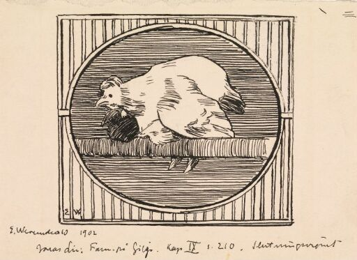 """Forarbeid til illustrasjon, Jonas Lie """"Familien på Gilje"""", København 1903 [-1904]"""